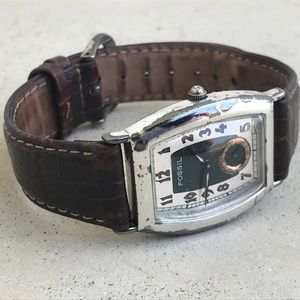 Fossil Men Watch Brown Genuine Leather Band Analog